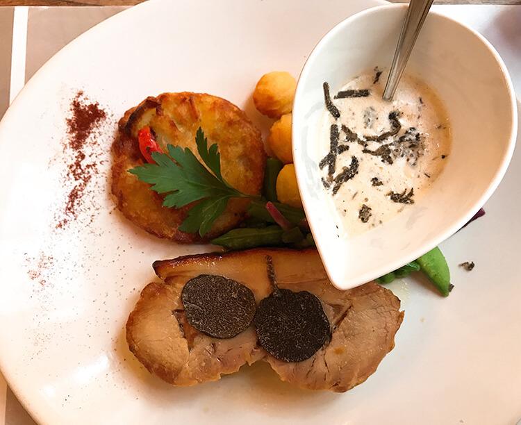 Truffle menu at Cafe de la Paix, Valreas, France