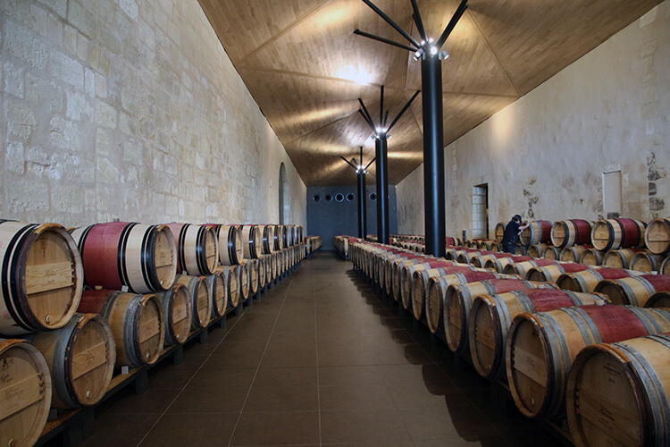 Barrel room at Chateau Kirwan Bordeaux