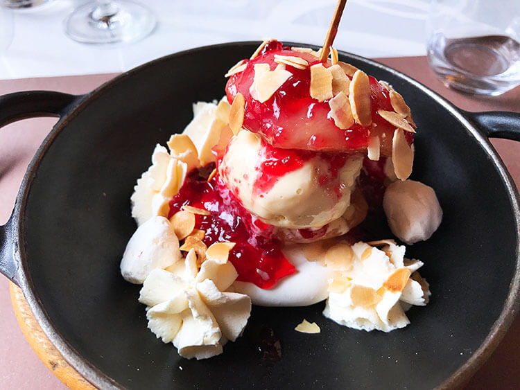 Peach with chantilly cream and ice cream at Le Bibent, Toulouse, France
