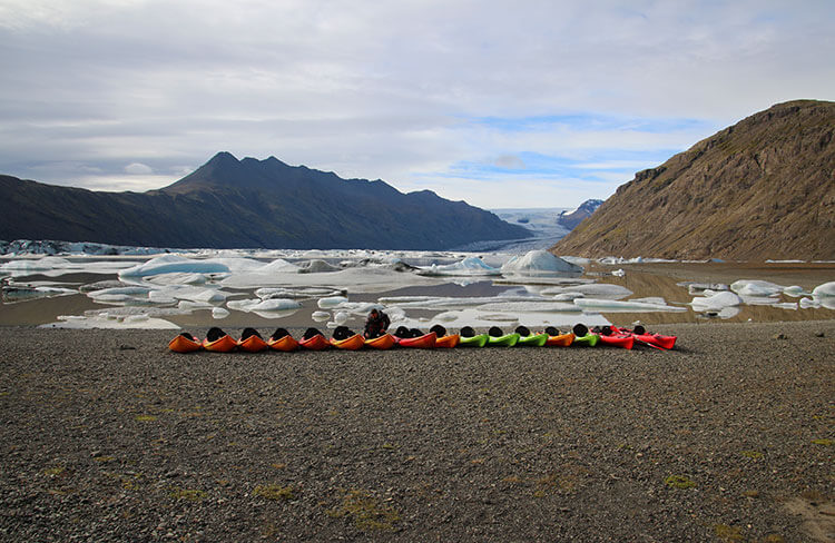 Kayaks at the Heinaberg Lagoon, Iceland
