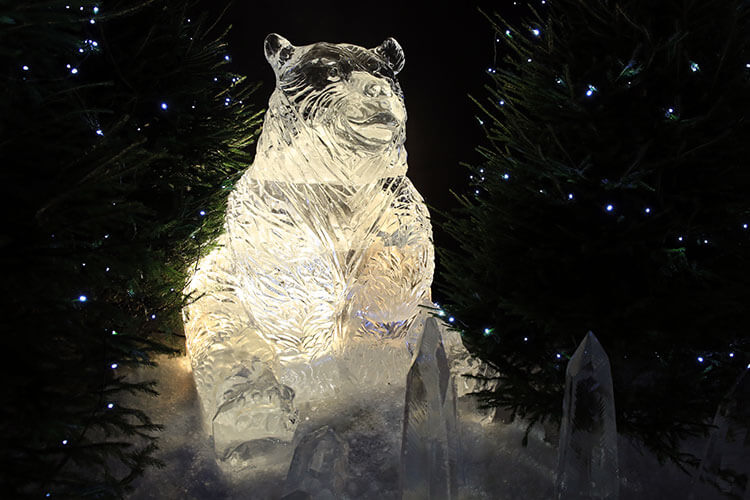 Wojtek, the Soldier Bear in ice at Ice Adventure