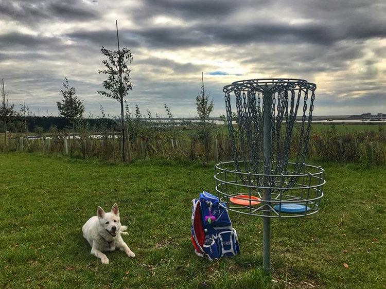 Emma disc golfing in England