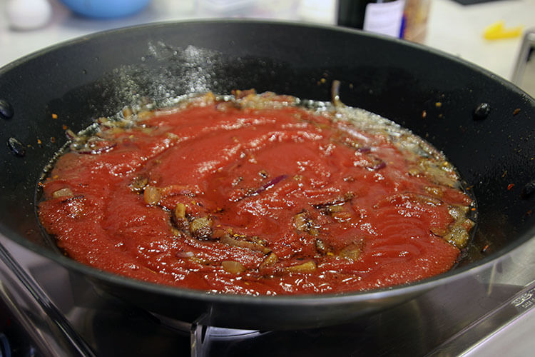 Making amatriciana sauce