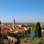 Panorama of Verona with the orange rooftops and the curving Adige River