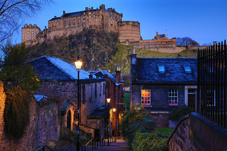 Edinburgh Castle viewed from the Grassmarket neighborhood