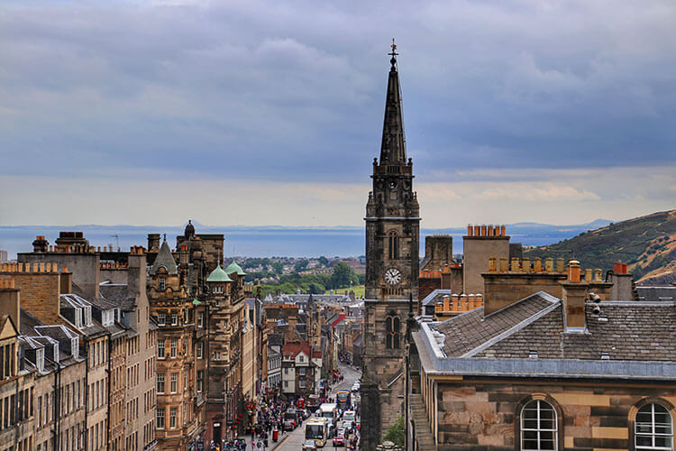 The view looking toward the sea and down the Royal Mile from the rooftop of Saint Giles Cathedral