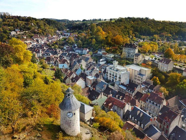 An aerial photo over the village of Aubusson, France