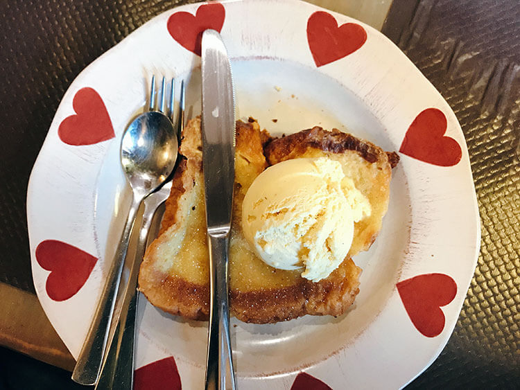 Pain Perdu is like French toast topped with vanilla ice cream