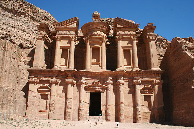 The massive Monastery is carved in to the rose colored sandstone at Petra