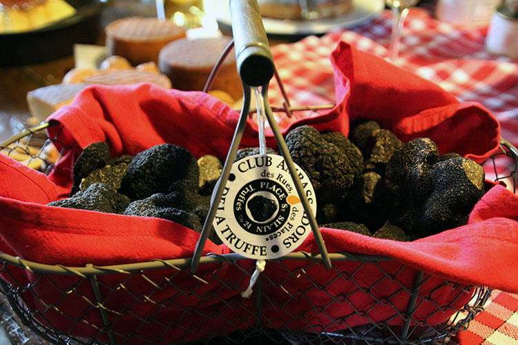 A basket of black Perigord truffles