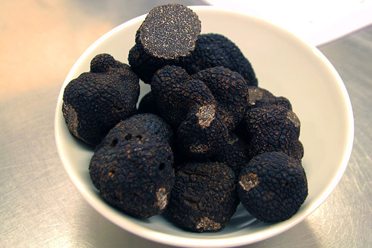 A bowl of black Perigord truffles