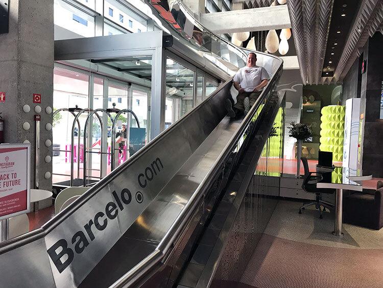 Tim sliding down the slide at Barcelo Malaga