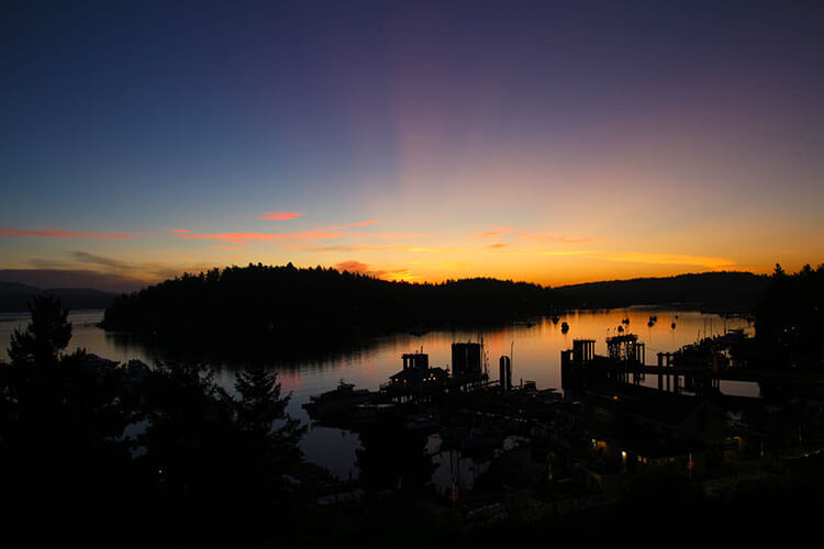 Sunrise over Friday Harbor