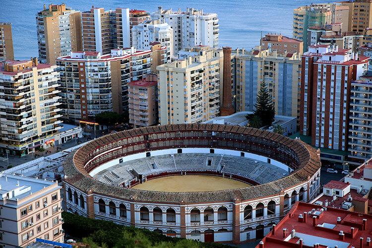 An aerial view of the Plaza de Toros de La Malagueta bullring