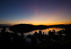 Sunrise over Friday Harbor, San Juan Island, Washington