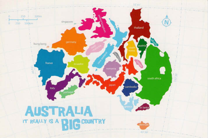 Map of Australia with various countries inside to show how big Australia is