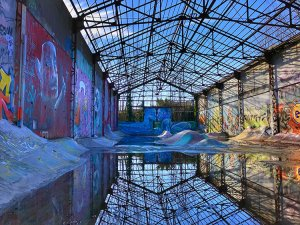 Street art in a skate park at the Darwin complex in Bordeaux