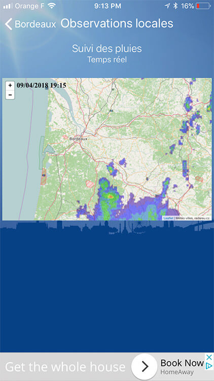 Meteo Bordeaux shows weather in real time