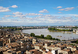 View over Bordeaux roof tops, Water Mirror and Garonne River from Saint Michel Bell Tower