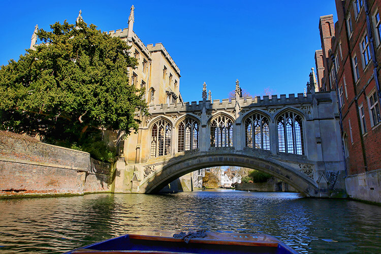The stone covered bridge spans the River Cam and is called the Bridge of Sighs