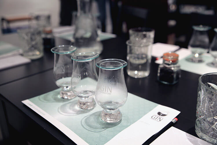 Gin tasting set up with three gins
