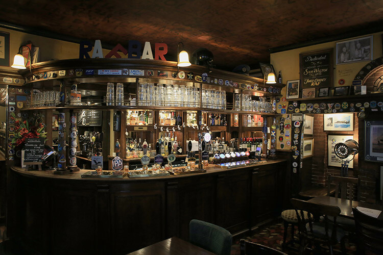 Inside the RAF Bar with every bit of the walls covered in memorabilia