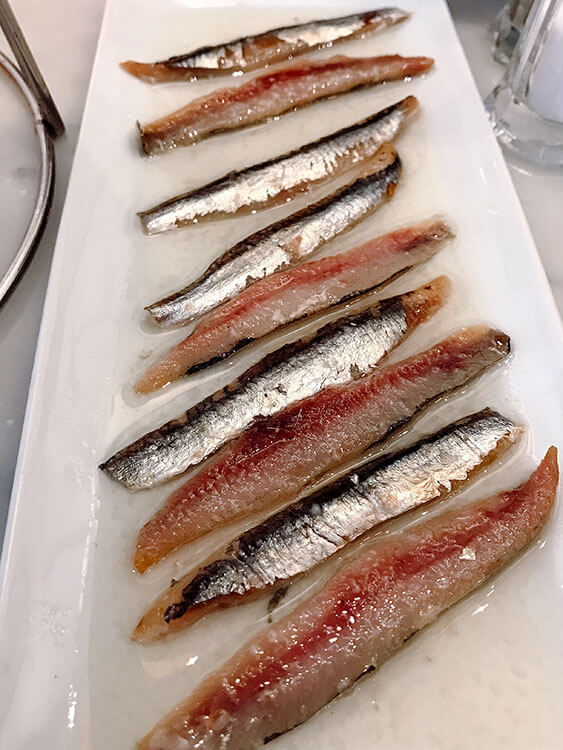 Smoked anchovies at Christera Pintxos in Biarritz