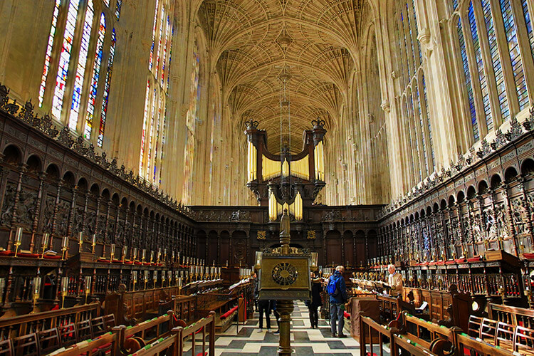 Inside King's College Chapel gazing down the entire 88 meter length from the altar