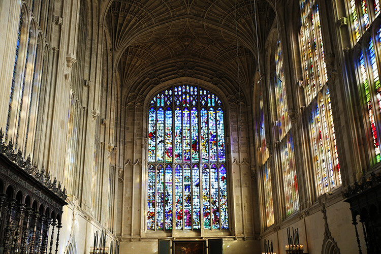 The stained glass windows in King's College Chapel