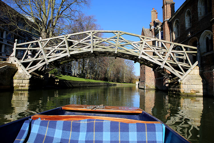 The wooden Mathematical Bridge spans the River Cam in Cambridge