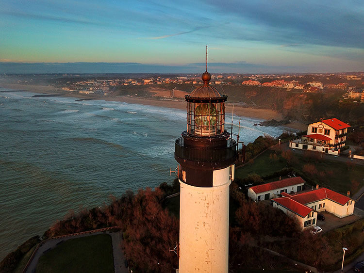 Drone of the Biarritz Lighthouse and Anglet coastline