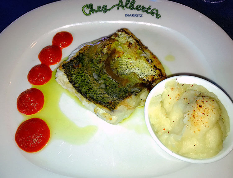 Hake with mashed potatoes at Chez Albert