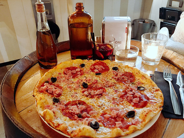A pizza and sangria at Chez Coco in Biarritz