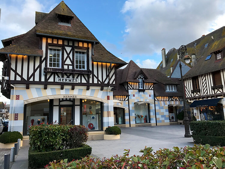 Hermes is housed in a typical half-timber Norman building in Deauville
