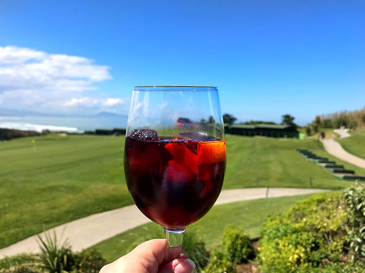 Enjoying a glass of sangria at Golf Ilbarritz