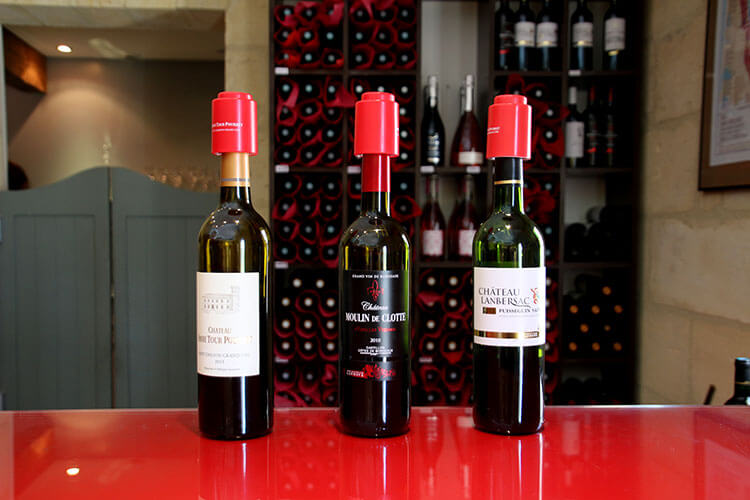 Three wines produced at the various Lannoye family estates for tasting