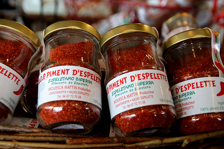 Jars of Espelette pepper piment powder