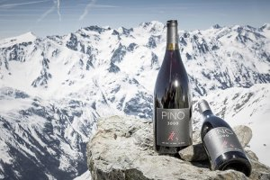 A bottle of Das Central Solden Pino 3000 with the mountains behind