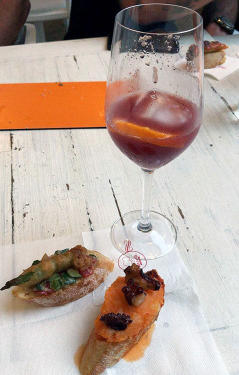 Two pintxos with a glass of tinto a verano at Restaurante Mar a Villa in Ibiza