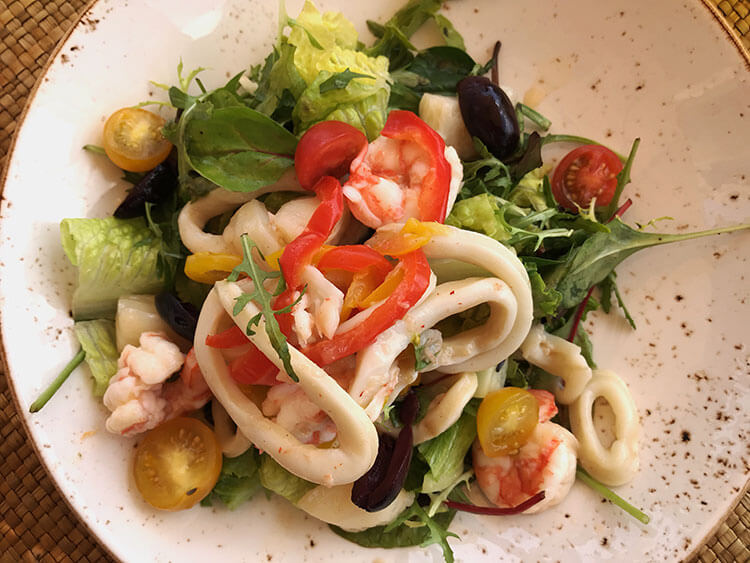 Calamari and prawn salad at Bella Vista at Anantara Al Jabal Al Akhdar