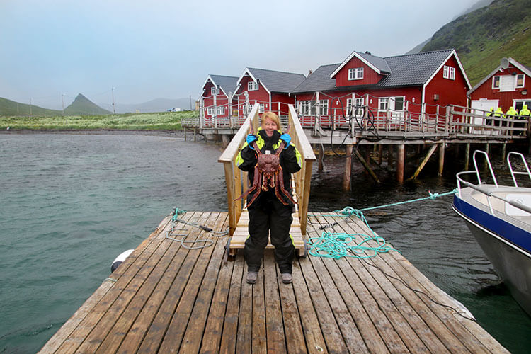 Jennifer holding a live king crab on the little dock in a fishing village near Honningsvag, Norway