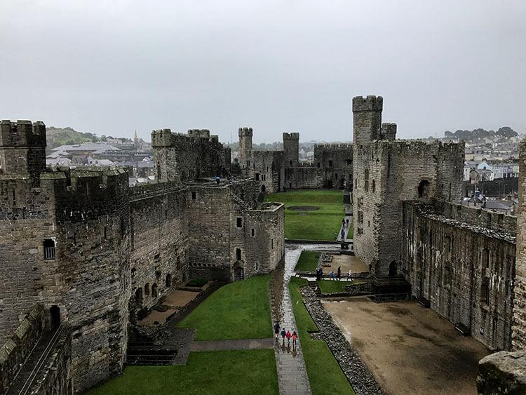 On the walls inside Caernarfon Castle on a very rainy day