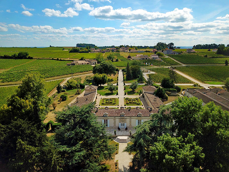 Drone aerial of front of Château Fombrauge