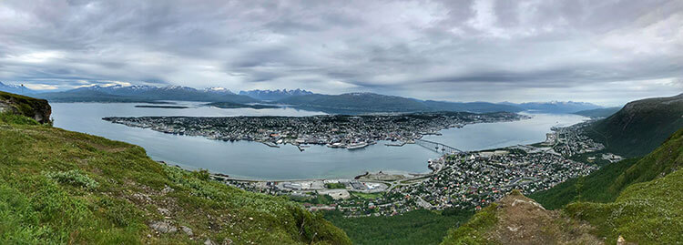 Panoramic view over the entire fjord and island of Tromso from Floya