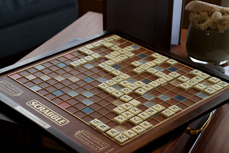 A Scrabble board being played on Viking Sea