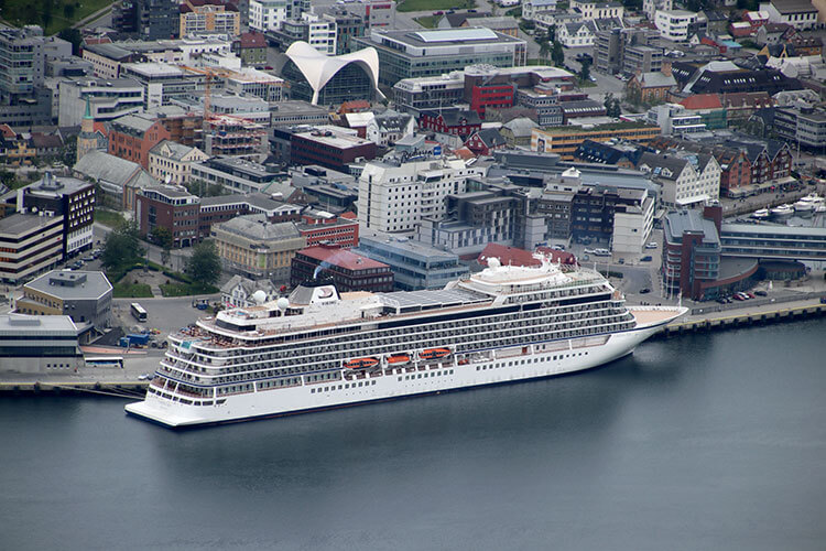 An aerial shot of our ship, Viking Sea, in port in Tromso, Norway