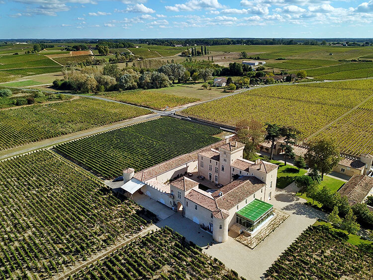 Aerial drone photo of the small castle and surrounding vineyards
