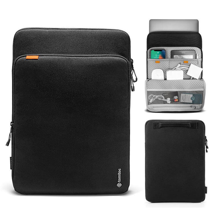 "tomtoc 15"" Cordura top zip laptop sleeve for MacBook Pro in black"
