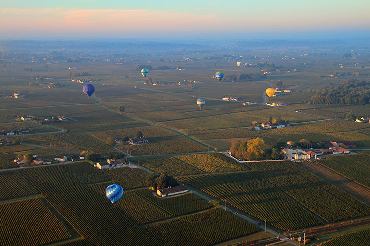 A sunset landscape shot of more than half a dozen hot air balloons over the Saint-Émilion vineyards during the Montgolfiades de Saint-Émilion