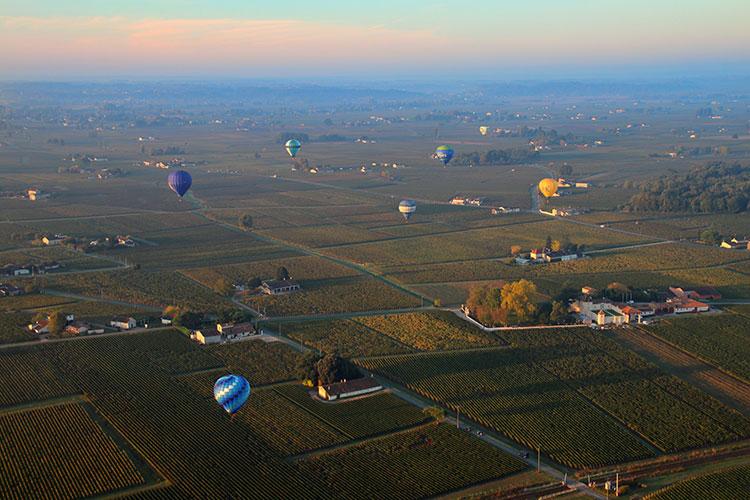 A sunset landscape shot of more than half a dozen hot air balloons over the Saint-Émilion vineyards during the Montgolfiades de Saint-Émilion